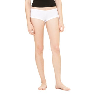 Women's White Cotton/Spandex Shortie Shorts