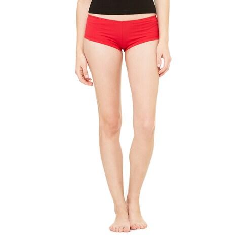 Women's Red Cotton/Spandex Shortie Shorts