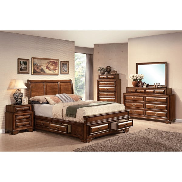 Acme Furniture Konane Brown Cherry 4-Piece Sleigh Bedroom Set