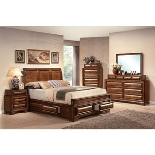 Acme Furniture Konane Brown Cherry 4-Piece Sleigh Bedroom Set