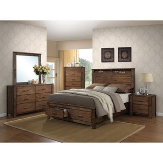 Merrilee Oak 4-piece Storage Bedroom Set