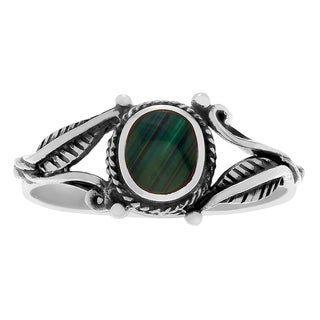 Journee Collection Sterling Silver Malachite Leaf Ring