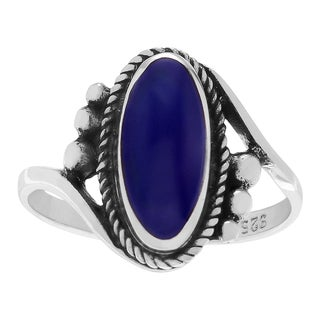 Journee Collection Sterling Silver Lapis Oval Ring