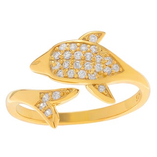 Journee Collection Sterling Silver Cubic Zirconia Dolphin Adjustable Wrap Toe Ring