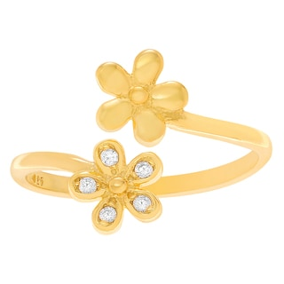 Journee Collection Sterling Silver Cubic Zirconia Flower Adjustable Toe Ring