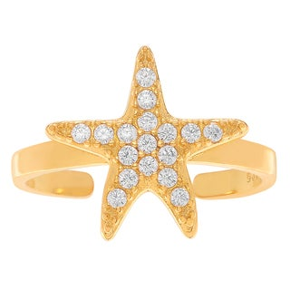 Journee Collection Sterling Silver Cubic Zirconia Starfish Toe Ring