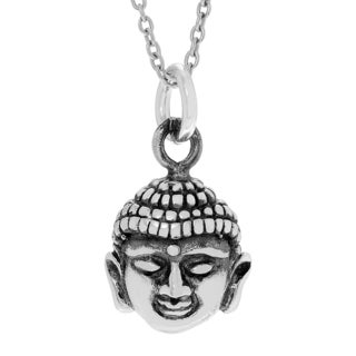 Journee Collection Sterling Silver Buddha Face Pendant