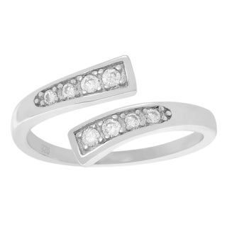 Journee Collection Sterling Silver Cubic Zirconia Adjustable Toe Ring