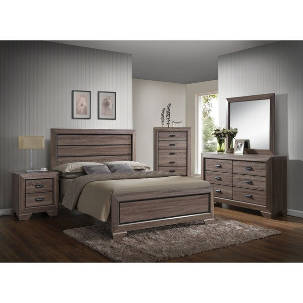 Lyndon weathered grey 4 piece bedroom set free shipping for Gray bedroom furniture sets