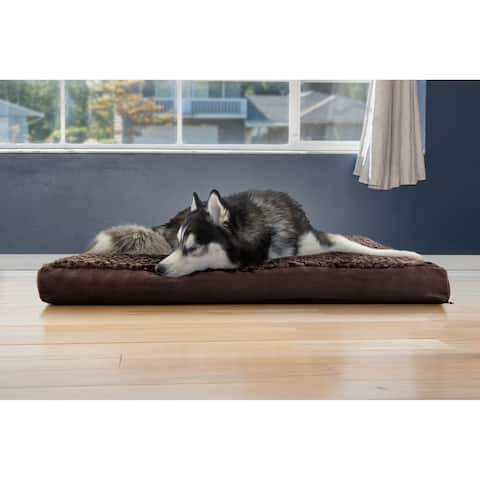 FurHaven Pet Bed Ultra Plush Deluxe Cooling Gel Top Mattress Dog Bed