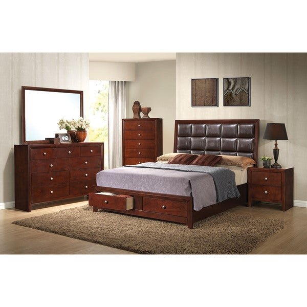 Ilana Brown Cherry 4-piece Storage Bedroom Set