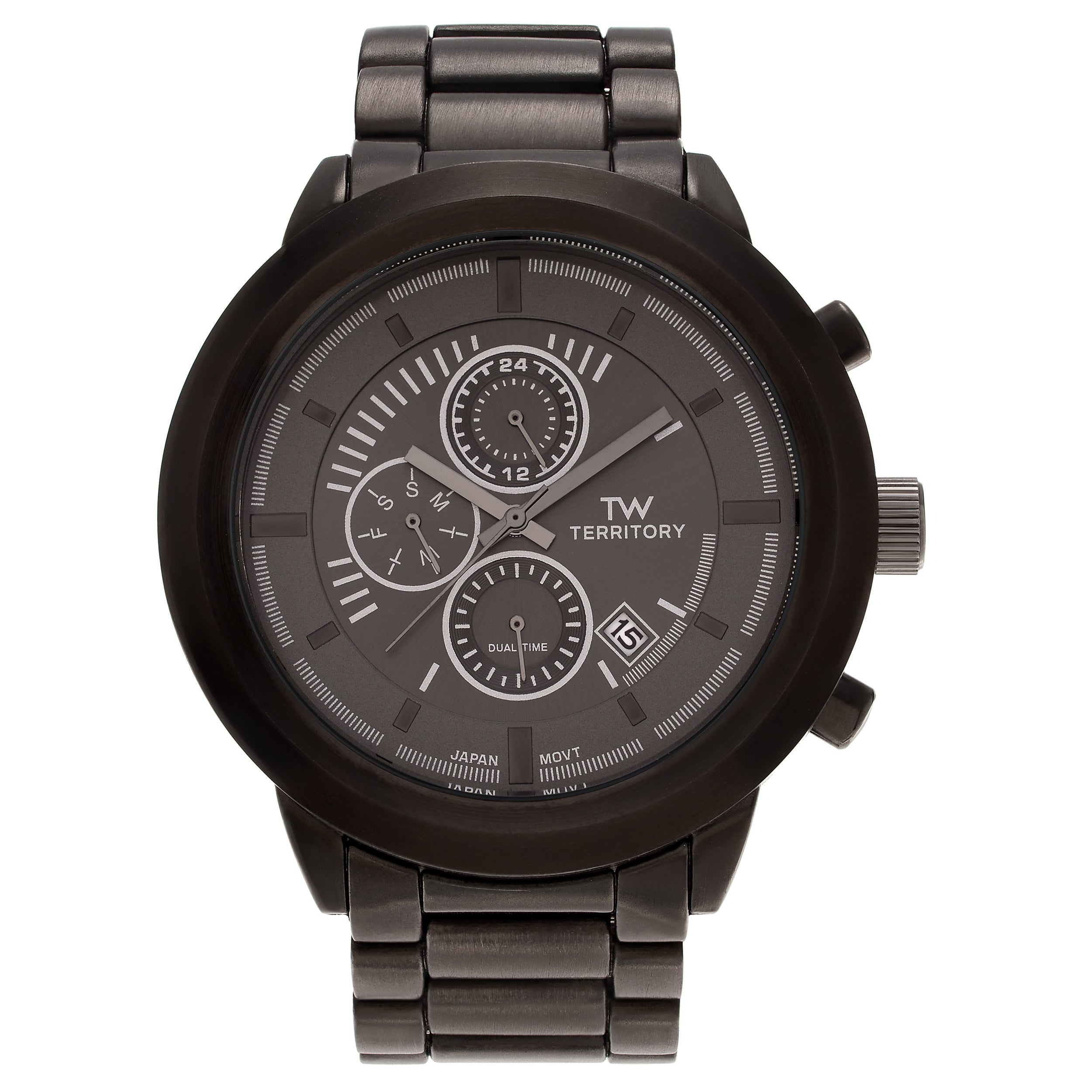 Territory Men's Ion Plated Stainless Steel Chronograph Di...