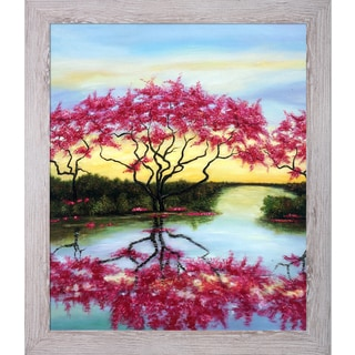 Susan Fischer 'A Flowery Tree' Hand Painted Framed Canvas Art