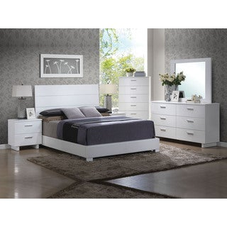 Acme Furniture Lorimar Glossy White 4-Piece Bedroom Set