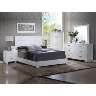 Acme Furniture Lorimar Glossy White 4-Piece Bedroom Set