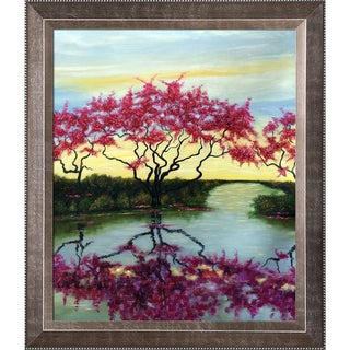 Susan Fischer 'A Flowery Tree' Hand Painted Framed Canvas Art