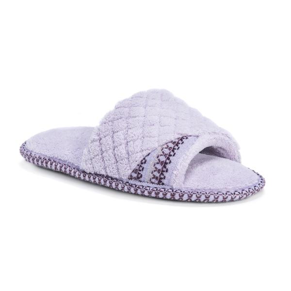 Muk Luks Womens Sally Purple Micro Chenille Open Toe Scuff Slippers