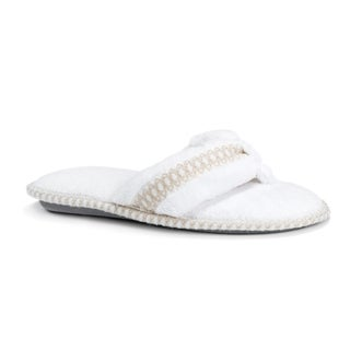 Muk Luks Women's Darlene White Polyester Micro Chenille Thong Slippers