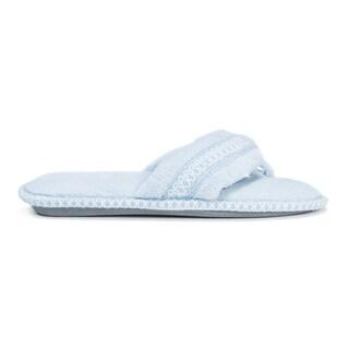 Muk Luks Women's 'Darlene' Blue Micro Chenille Polyester Thong Slippers