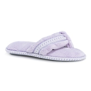 Muk Luks Women's Darlene Purple Micro Chenille Thong Slippers