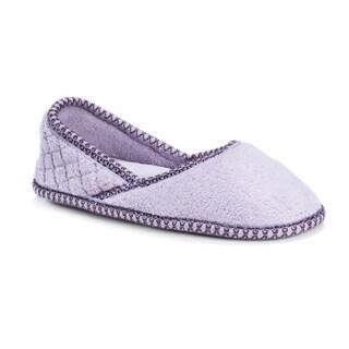 Muk Luks Women's Beverly Purple Micro Chenille Slip-ons