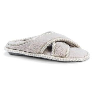 Muk Luks Women's Ada Beige Micro Chenille Criss Cross Slippers
