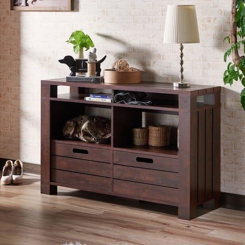 Furniture of America Prag Transitional Walnut 4-shelf Sofa Table