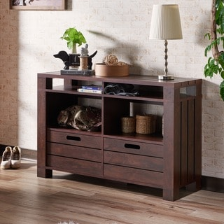 Furniture of America Crete Vintage Walnut Storage Sofa Table