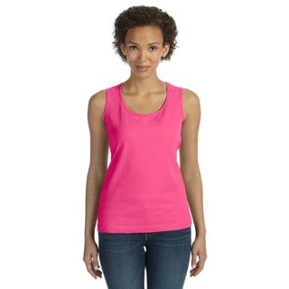 Combed Women's Pink Cotton Ringspun Jersey Tank Top