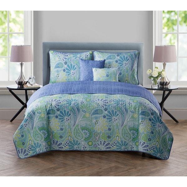 VCNY Harper Blue 5-piece Reversible Quilt Set