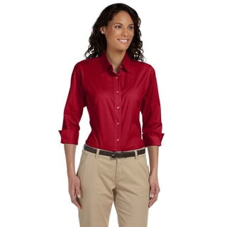 Women's Red Cotton/Spandex Poplin Blouse