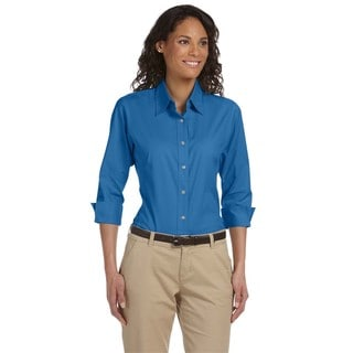 Women's Three-Quarter Sleeve French Blue Stretch Poplin Button Down Blouse