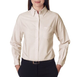 Women's Tan Cotton and Polyester Classic Wrinkle-free Long-Sleeved Oxford Shirt