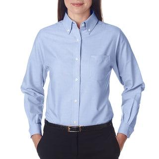 Classic Women's Light Blue Wrinkle-free Long-sleeve Oxford