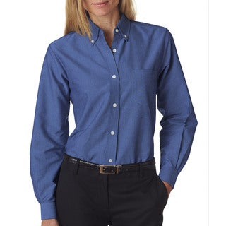 Classic Women's French Blue Wrinkle-free Long-sleeve Oxford Shirt