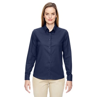 Paramount Women's Classic Navy 849 Wrinkle-resistant Cotton Blend Twill Checkered Dress Shirt