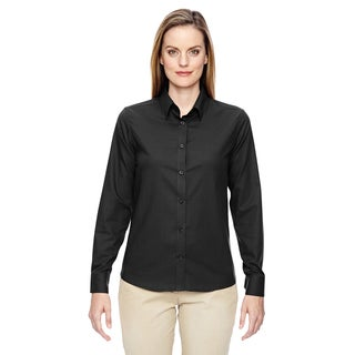 Paramount Women's Black Wrinkle-resistant Twill Checkered Dress Shirt