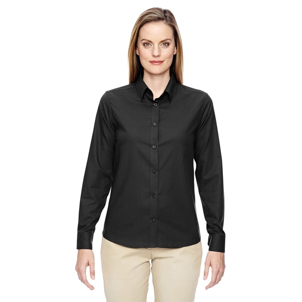 Paramount women 39 s black wrinkle resistant twill checkered for Best wrinkle free dress shirts