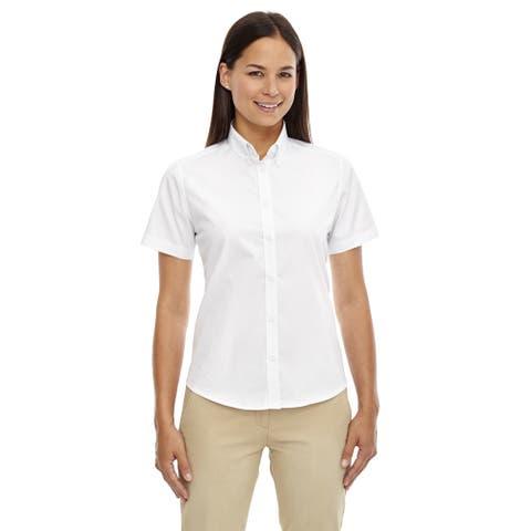 Optimum Women's White Short-sleeved Twill Dress Shirt