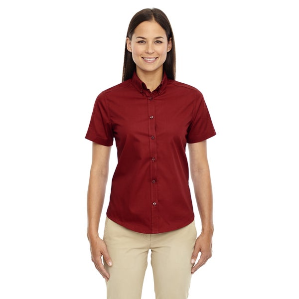 Optimum Women's Short-Sleeve Twill Classic Red Dress Shirt