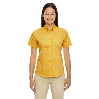 Optimum Women's Gold Cotton-blended Short-Sleeved Twill Dress Shirt