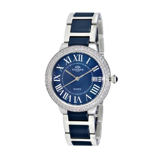 Oniss ON3331 Ladies' Silvertone/Blue Stainless Steel & Ceramic Stone Swiss Timepiece