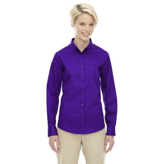 Operate Women's Campus Purple Cotton/Polyester Long-sleeved Twill Dress Shirt