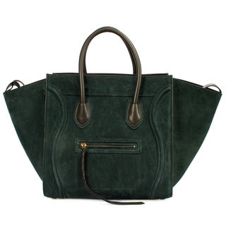 Celine Luggage Phantom Handbag in Green Suede Size Medium with Gold Hardware