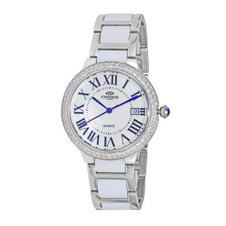 Oniss Women's ON3331 Silver-tone White Ceramic Stainless Steel Swiss Date Quartz Movement Timepiece