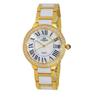 Oniss Paris Women's Swiss Goldtone and Mother of Pearl Stainless Steel Watch|https://ak1.ostkcdn.com/images/products/12271884/P19111048.jpg?impolicy=medium