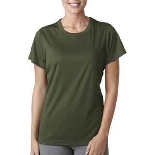 Cool and Dry Women's Sport Performance Interlock Military Green Shirt