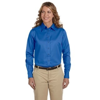 Easy Blend Women's French Blue Long-sleeve Twill Dress Shirt With Stain-release