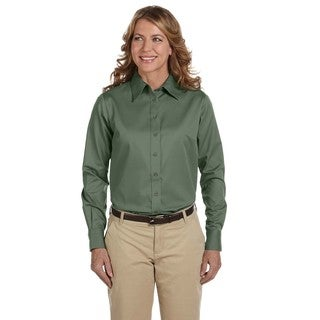 Easy Blend Women's Dill Twill Long-sleeve Dress Shirt With Stain-release