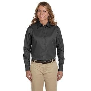 Women's Dark Grey Easy-blend Long-sleeve Stain-release Twill Dress Shirt